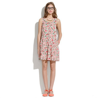 Madewell Drop-Waist Dress in Lotus Leaf