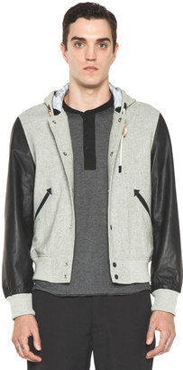 Shipley & Halmos Stewart Hooded Varsity Jacket in Grey & Navy