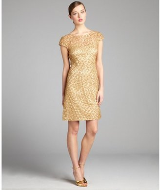 Kay Unger gold sequined lace party dress