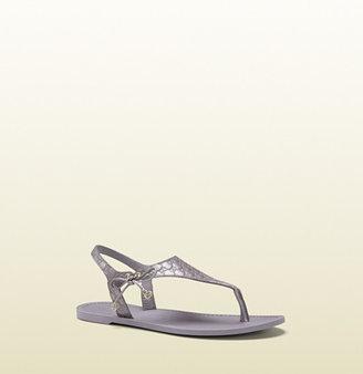 Gucci Katina Lilac Metallic Leather Thong Sandal