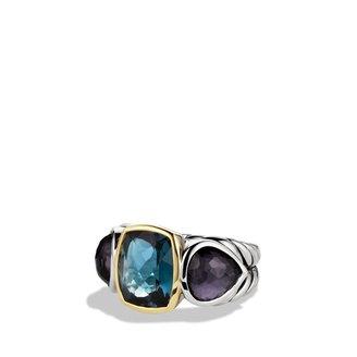 David Yurman Ultramarine Three-Stone Ring with Hampton Blue Topaz, Black Orchid, and Gold