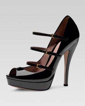 Gucci Triple-Strap Platform Mary Jane Pump, Black