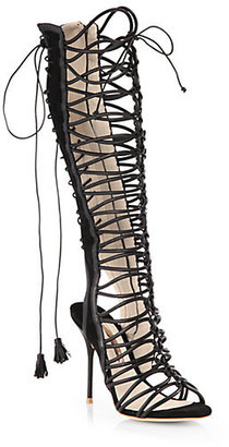 Webster Sophia Clementine Leather & Suede Lace-Up Sandal Boots