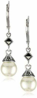 Judith Jack Sterling Silver Marcasite and Simulated Pearl Drop Earrings $70 thestylecure.com