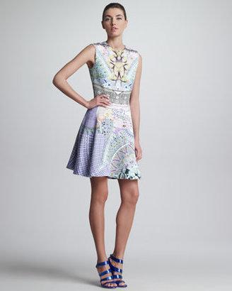 Mary Katrantzou Babs Printed Circle-Skirt Sleeveless Dress, Purple/Multicolor