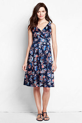 Lands' End Women's Petite Sleeveless Pattern Stretch Sateen V-neck Fit and Flare Dress