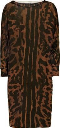 Alexander McQueen Ocelot-print fine-knit silk dress