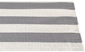 Crate & Barrel Olin Grey Striped Cotton Dhurrie Rug