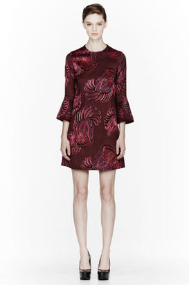 Stella McCartney Burgundy Feather & Flower Jacquard Dress