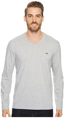 Lacoste Long Sleeve Pima Jersey V-Neck T-Shirt (White) Men's T Shirt