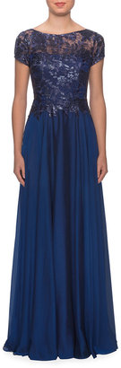 La Femme Cap-Sleeve Chiffon Gown with Metallic Lace Bodice