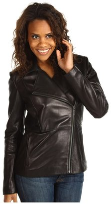 Cole Haan Smooth Lamb Asymetrical Zip Front Jacket (Black) - Apparel