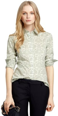 Brooks Brothers Baroque Floral Print Blouse