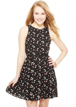 Delia's Black Floral Racerback Zip Dress