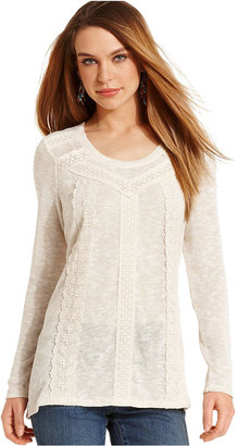 Style&Co. Petite Top, Long-Sleeve Lace-Trim