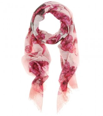 Alexander McQueen CAMELLIA AND SKULL PRINT SCARF