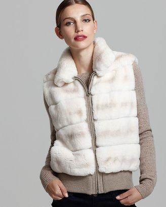 Maximilian Rabbit Fur Vest with Knit Trim
