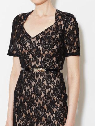Lace Belted Sweetheart Sheath Dress