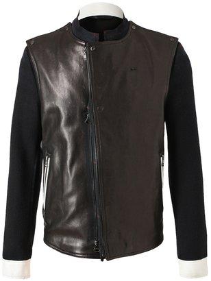 Lanvin Tartan wool and leather biker jacket