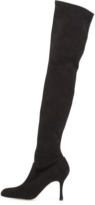 Manolo Blahnik Pascaputre Suede Over-the-Knee Boot, Black