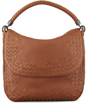 Bottega Veneta Cervo Medium Flap Shoulder Bag, Dark Brown