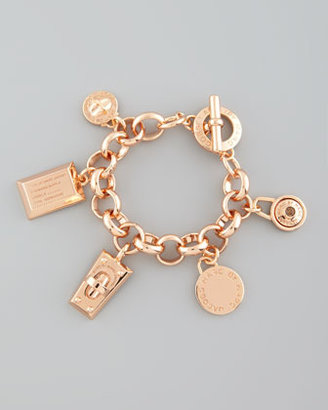 Marc by Marc Jacobs Logo Charm Bracelet, Rose Golden