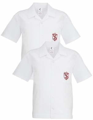 Unbranded Sylvia Young Theatre School Boys' Badged Short Sleeve Shirt, Pack of 2, White