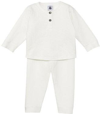 Petit Bateau Baby Girl Pajamas In Flowery Eyelet Tube Knit