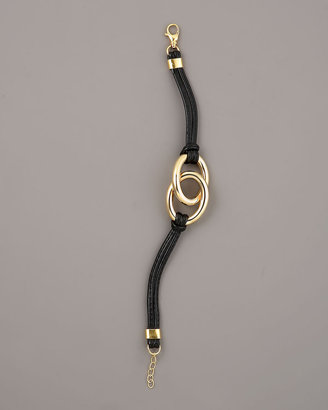 Faraone Mennella Leather & Gold Nodi Bracelet, Black