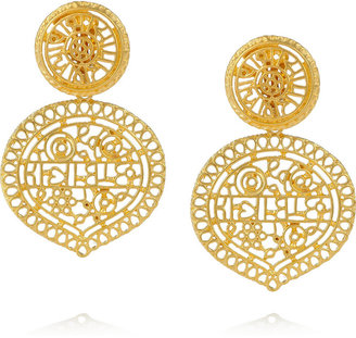 Kenneth Jay Lane 22-karat gold-plated clip earrings
