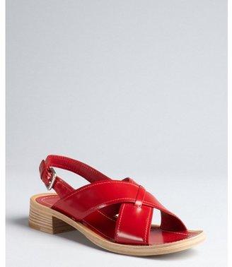 Prada ruby red leather crossed strap slingback sandals