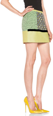 MSGM Color Block Polyamide-Blend Skirt in Yellow