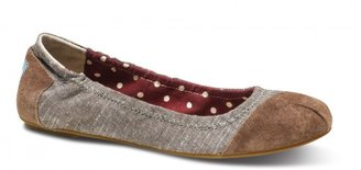 Toms Brown chambray ballet flats