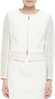 Paule Ka Perforated Zip-Front Jacket, Ecru