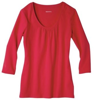 Merona Women's Scoop Neck 3/4 Sleeve Shirred Tee - Assorted Colors