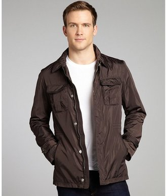 Z Zegna brown cargo leather trim elasticized waist jacket