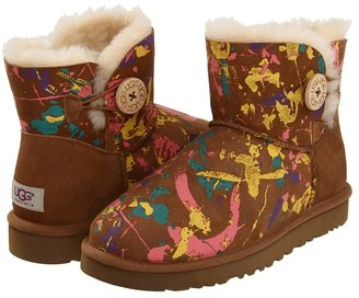 UGG Mini Bailey Button Paint Splatter (Paint Splatter Chestnut Multi) - Footwear
