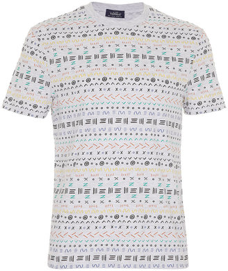 Topman Grey Marl Aztec Print T-Shirt