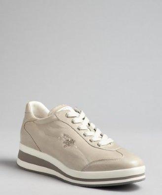 Prada Sport khaki leather high sole sneakers
