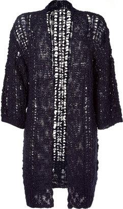 Anna Sui Navy Short Sleeve Open Cardigan