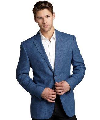 Joseph Abboud denim blue linen woven blazer