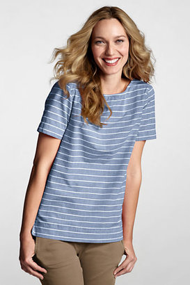 Lands' End Women's Petite Short Sleeve Cotton Chambray Boatneck Top