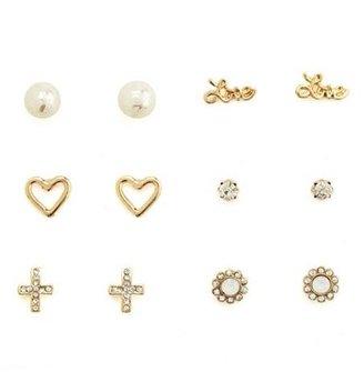 Charlotte Russe Printed Pearl Earring Set