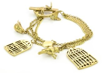Monserat De Lucca Brass Birdcage Charm Bracelet