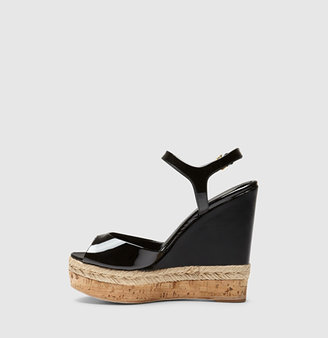 Gucci Hollie Patent Leather Open Toe Wedge