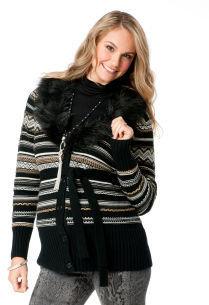 Motherhood Jessica Simpson Long Sleeve Faux Fur Trim Maternity Sweater Coat