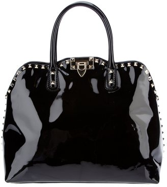 Valentino patent studded tote bag