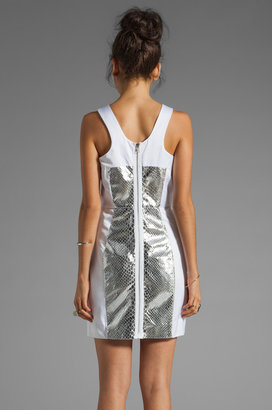 Milly Mirrored Python Racer-neck Dress