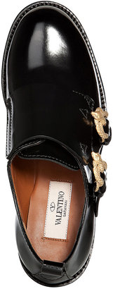 Valentino Leather Monk Shoes with Serpent Buckles