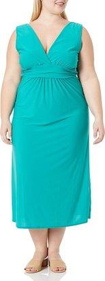 Star Vixen Women's Plus-Size Sleeveless Surplice Maxi Dress with Empire Banded Waist